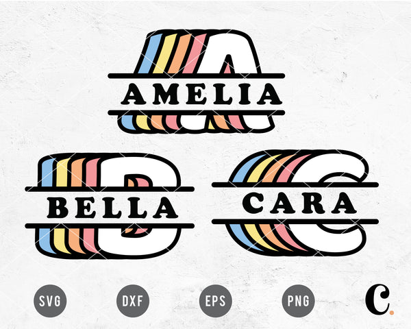 Retro Rainbow Split Monogram SVG