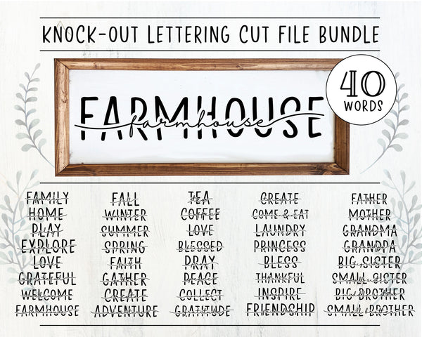 Knock-Out Farmhouse Lettering SVG Bundle