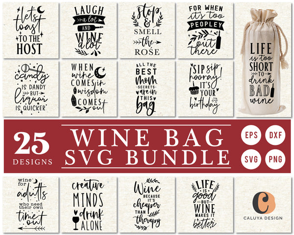 Wine Gift Bag Making SVG Bundle