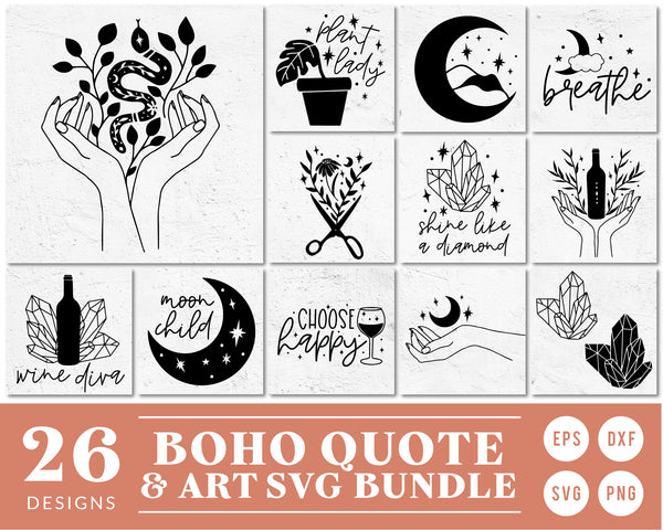 Boho Quote & Clipart SVG Bundle