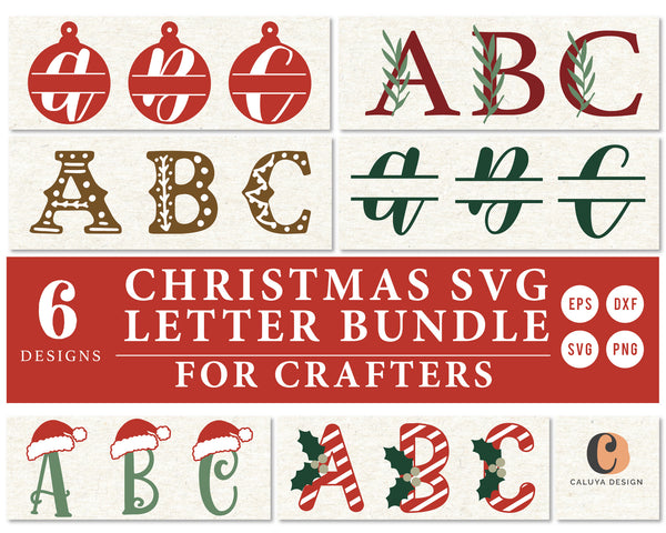 6 Christmas Monogram SVG Bundle