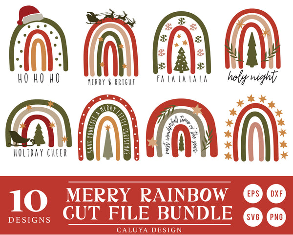 Marry Christmas Boho Rainbow SVG Bundle