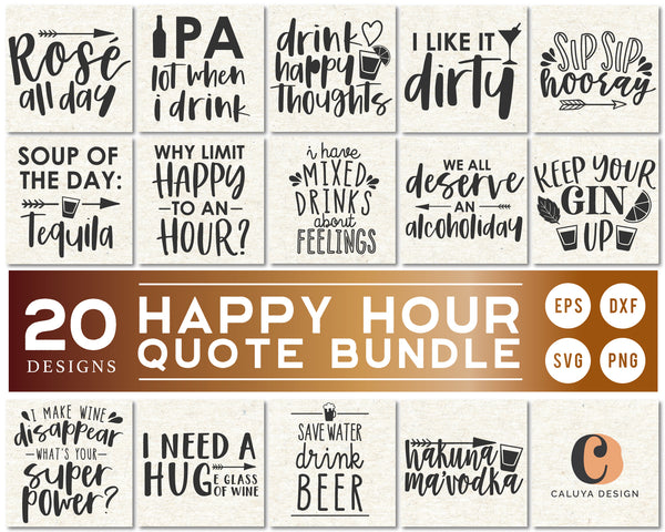 Happy Hour Quote SVG Bundle