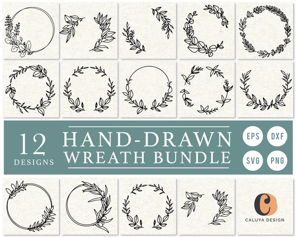 Hand-Drawn Wreath Frame SVG Bundle