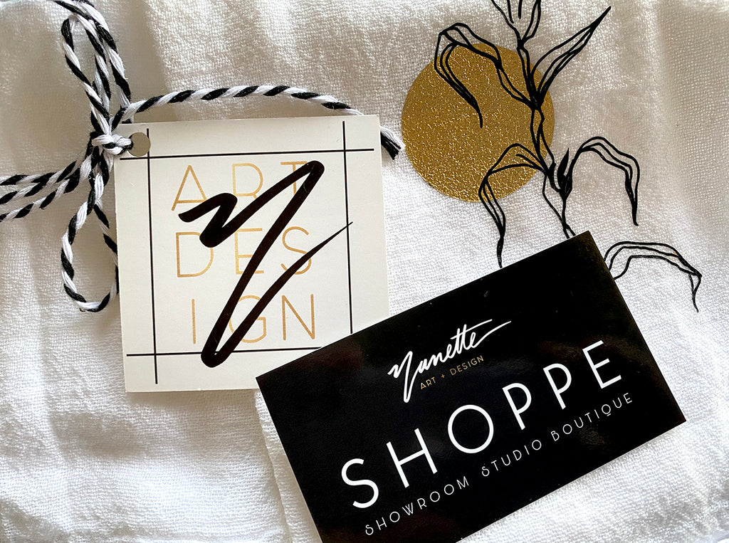 Nanette Art and Design towel and business cards