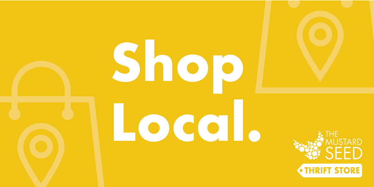 Yellow graphic that has shopping bags on it and the words shop local