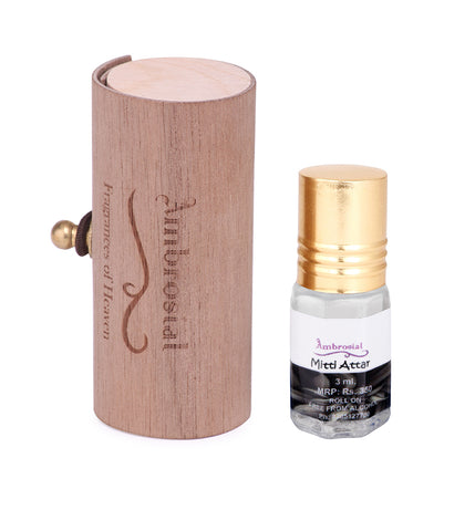 Ambrosial 3ml Mitti Gift Set Natural Indian Attar Perfume Concentrate Oil