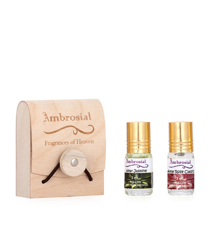 Ambrosial Gift Set 3ml-2 Attar Rose Jasmine 100% Natural Pure Concentrate