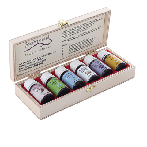 Ambrosial Gift Set of 6 Aroma Oils 15ml Each (Color: Maroon)