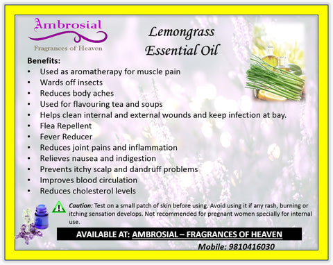 Ambrosial Lemongrass Essential  Oil Natural 15ml Cymbopogon Citratus