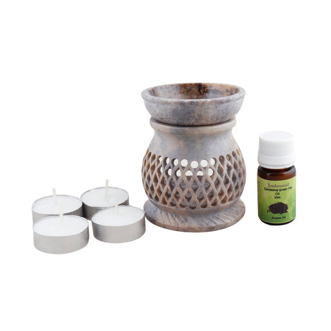 Ambrosial Soapstone Candle Burner Set 01 with 15ml Aroma Oil & 4 Tea Light Candle