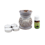 Ambrosial Soapstone Candle Burner Set 02 with 15ml Aroma Oil & 4 Tea Light Candle
