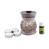 Ambrosial Soapstone Candle Burner Set 03 with 15ml Aroma Oil & 4 Tea Light Candle
