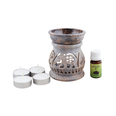 Ambrosial Soapstone Candle Burner Set 04 with 15ml Aroma Oil & 4 Tea Light Candle