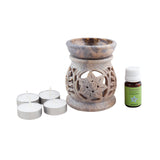 Ambrosial Soapstone Candle Burner Set 06 with 15ml Aroma Oil & 4 Tea Light Candle