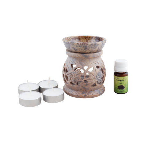 Ambrosial Soapstone Candle Burner Set 07 with 15ml Aroma Oil & 4 Tea Light Candle