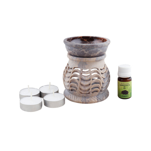 Ambrosial Soapstone Candle Burner Set 08 with 15ml Aroma Oil & 4 Tea Light Candle