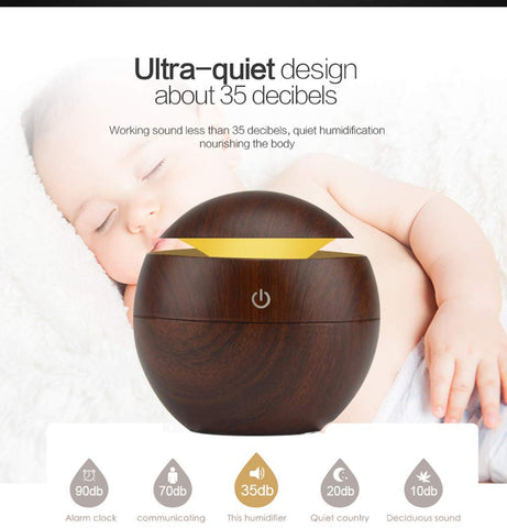 Ambrosial Mini Portable Wooden Aroma Diffuser Humidifier with 5 x 15ml Oils