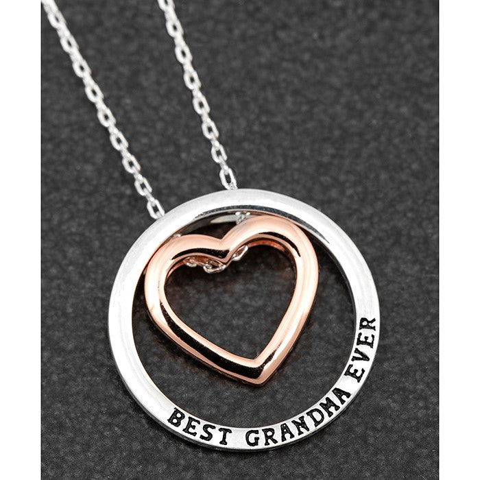 Best Grandma Ever Message Ring Charm Necklace
