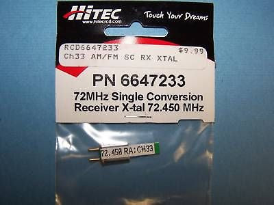 HITEC 72mHz SINGLE CONVERSION RECEIVER CRYSTAL (72.450 MHz) CH 33 #6647233