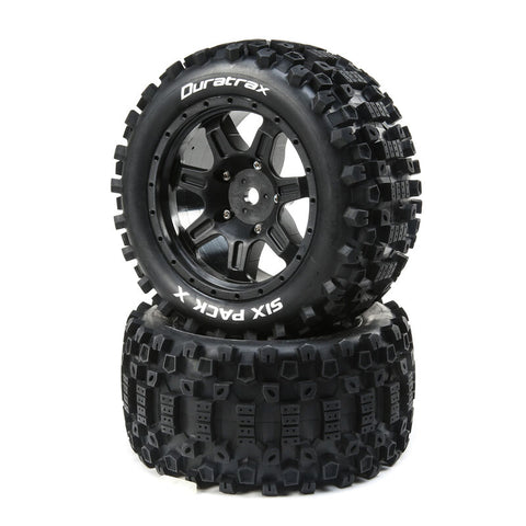 Six Pack X Belted Mounted Tires, 24mm Black