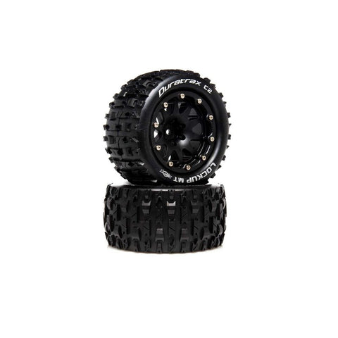 "Lockup MT Belted 2.8"" 2WD Mounted Rear Tires, .5 Offset, Black (2)"