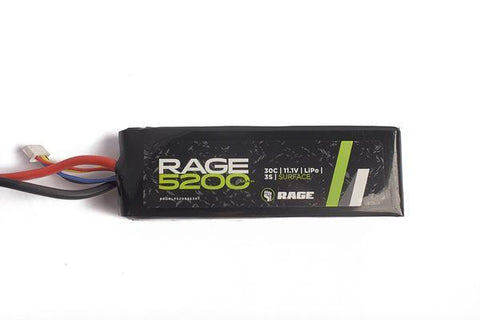 Rage R/C - 5200mAh 11.1V 3S 30C LiPo Soft Case Battery Pack with T-Plug Connector
