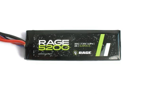Rage R/C - 5200mAh 7.4V 2S 30C LiPo Soft Case Battery Pack with T-Plug Connector (RGRLP5200-2S-30T)