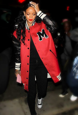 Celebrity teddy varsity jacket Rihanna