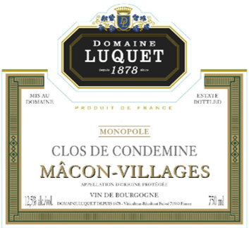 "Roger Luquet 2018 Macon Villages ""Clos de Condemine"" 375ml"