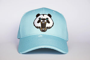 Classic. Panda Embroiered Baseball Cap. SKY BLUE
