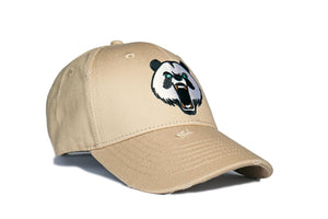 Classic. Panda Embroiered Baseball Cap. WHITE PEPPER