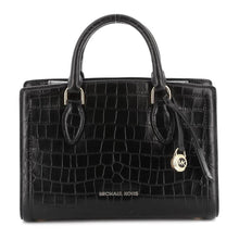 Load image into Gallery viewer, Michael Kors Zoe Croco Print Medium Black Satchel Leather Bag MK 30F9GZCS2E-001 193599027876