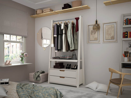 Manhattan Comfort Rockefeller Mid-Century Modern 2-Drawer Open Wardrobe Closet in White & Nature 105GMC3 810025593179