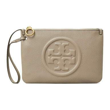 Tory Burch Perry Bomb Gray Heron Women's Pebbled Leather Wristlet