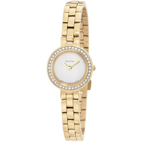Citizen Women's EX1082-51A Silhouette Eco-Drive White Dial Gold-Tone Watch 0132050957710