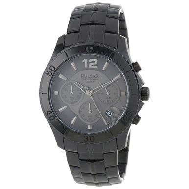 Pulsar PT3293 Stainless Steel Black Dial Men's Chronograph Watch