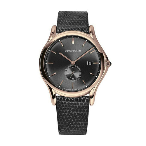 Emporio Armani ARS1003 Men's Gold Tone Black Leather Band Watch 723763203067