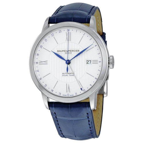 Baume & Mercier 10272 Classima Core White Dial Men's Blue Alligator Leather Dual Time Watch 7613268664100