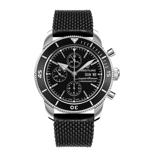 Breitling A13313121B1S1 Superocean Heritage II Black Dial Men's Rubber Chronograph Watch 842047147931