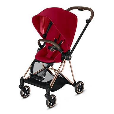 CYBEX MIOS 3-in-1 Travel System Rose Gold with Brown Details Baby Stroller – True Red