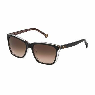 Carolina Herrera SHE695-Z32P Black Beige Logo Pattern Square Dark Grey Lens Women's Sunglasses