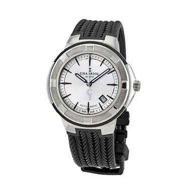 Charriol CE443AB173003 Celtica Silver Dial Men's Black Rubber Automatic Watch