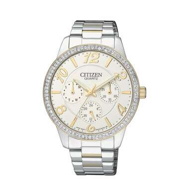 Citizen ED8124-53A Two Tone Stainless Steel White Dial Multi-Function Watch