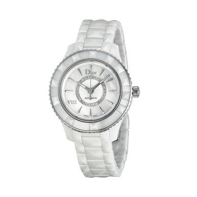 Dior CD1235E3C002 VIII White Ceramic Mother of Pearl Diamond Dial Automatic Watch