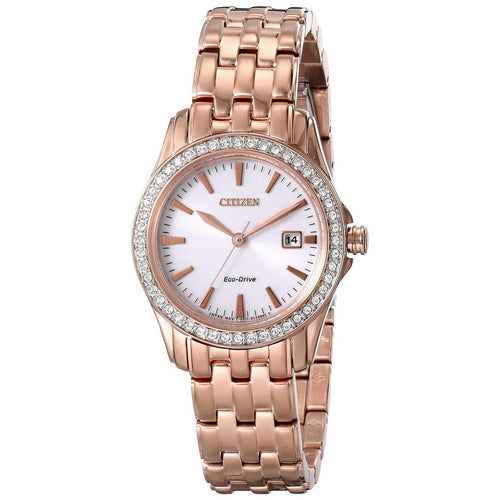 Citizen Eco-Drive EW1903-52A Ladies Silhouette Crystal Rose Goldtone Stainless Steel Watch 013205107962