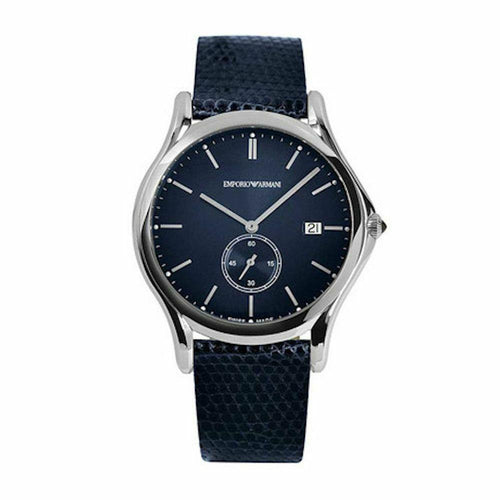 Emporio Armani ARS1010 Classic Blue Leather Men's Watch w/ Silver Tone Dial & Markers 723763210225