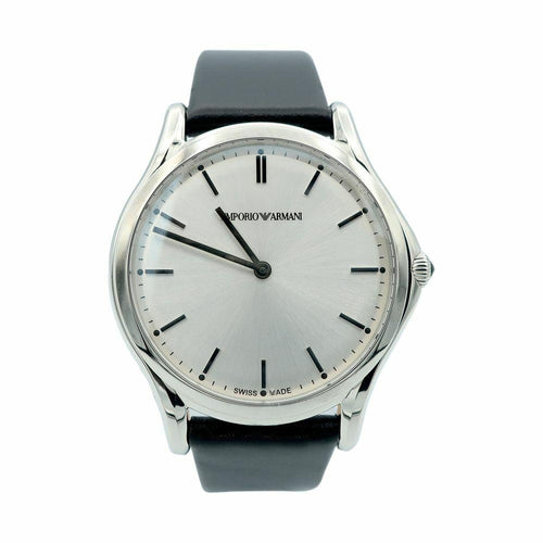 Emporio Armani ARS2002 Classic Unisex Watch w/ Stainless Steel Case & Leather Strap 723763203104