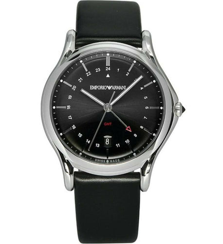 Emporio Armani ARS1100 Men's Watch Classic GMT Swiss Made Black Quartz Watch Front 723763215084