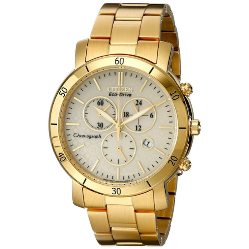 Citizen FB1342-56P Eco-Drive Gold Tone Champagne Dial Women's Chronograph Watch 013205101359